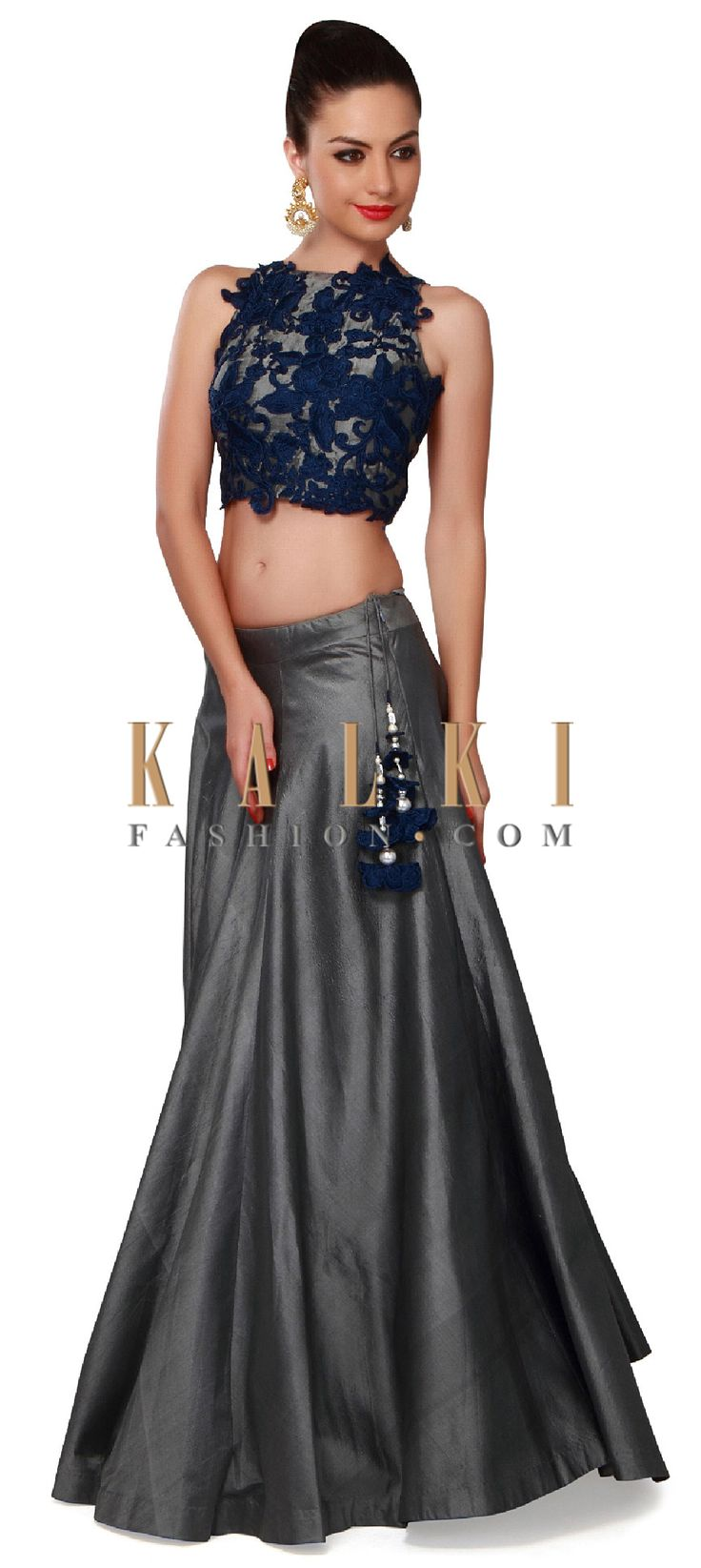 Buy Online from the link below. We ship worldwide (Free Shipping over US$100). Product SKU - 302826. Product Price - $539.00. Product link - http://www.kalkifashion.com/grey-lehenga-adorn-in-resham-applique-embroidery-only-on-kalki.html