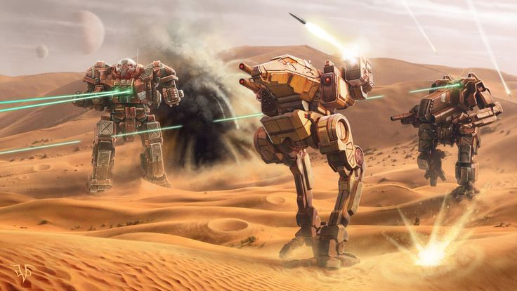 Three mechs in a desert shooting things with lasers and whatnot