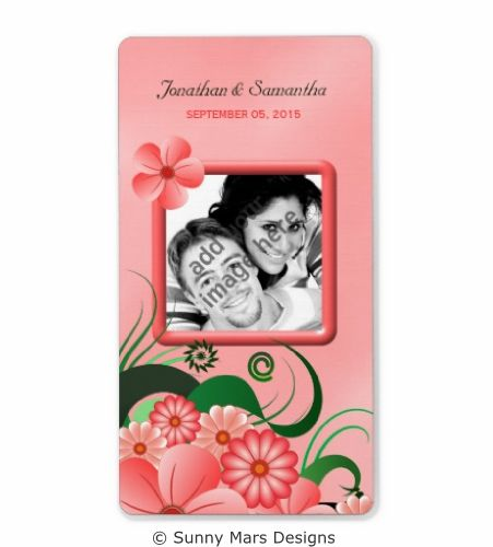 Pink Floral Hibiscus Custom Photo Wedding Save The Date Wine Labels,Favors or  Favours Labels by sunnymars  of SunnyMarsDesigns in association with Zazzle. This stylish, trendy, modern, chic customizable wedding label features an illustration of an elegant pink swirly tropical flower decoration design.  Click through to see matching wedding stationery and other related products.