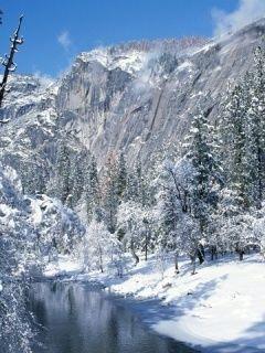 Заставки на мобильник. Снежные горы.