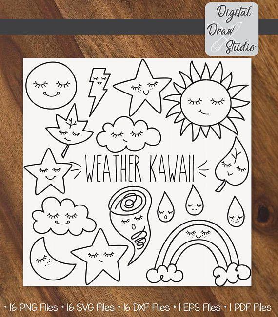 16 Weather Kawaii  Star Moon Cloud Sun Raindrop Cute Clip Art