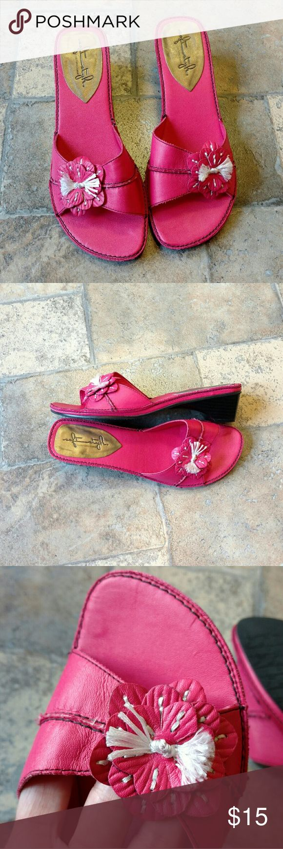 """Soft Style Hush Puppies pink low heel sandals * Soft Style by Hush Puppies * Pink with flower * Great condition - bottoms and insole are super clean * Size 8.5 US * 1.5"""" wedge heel  Any questions, just ask! Hush Puppies Shoes Sandals"""