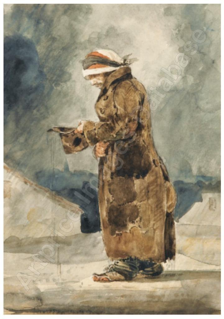 Le Mendiant Anglais Peinture Croquis Eugene Delacroix Dessin
