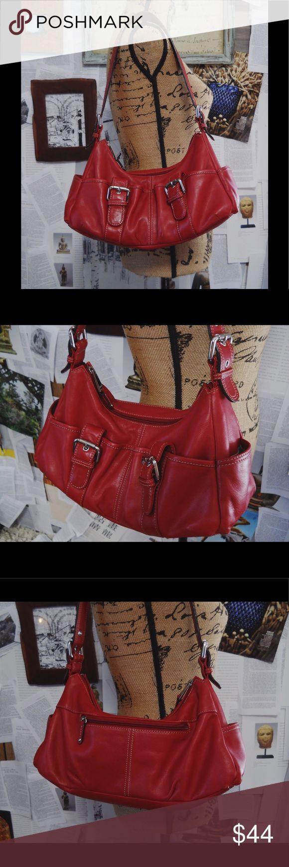 Selling this Red Leather Buckle Bag on Poshmark! My username is: terfner. #shopmycloset #poshmark #fashion #shopping #style #forsale #Tignanello #Handbags