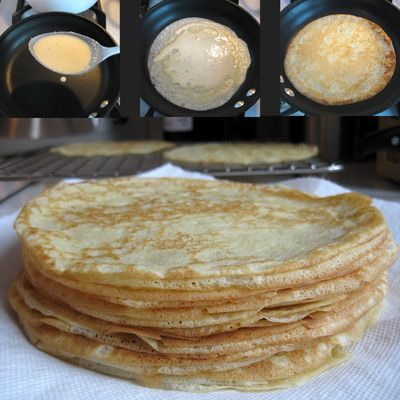 Julia Childs crepe recipe.  Really amazing and easy! - added 1T flour to aid in sticking to pan. Do not spray the pan. Add 2-3T sugar and 1T vanilla for dessert crepes.