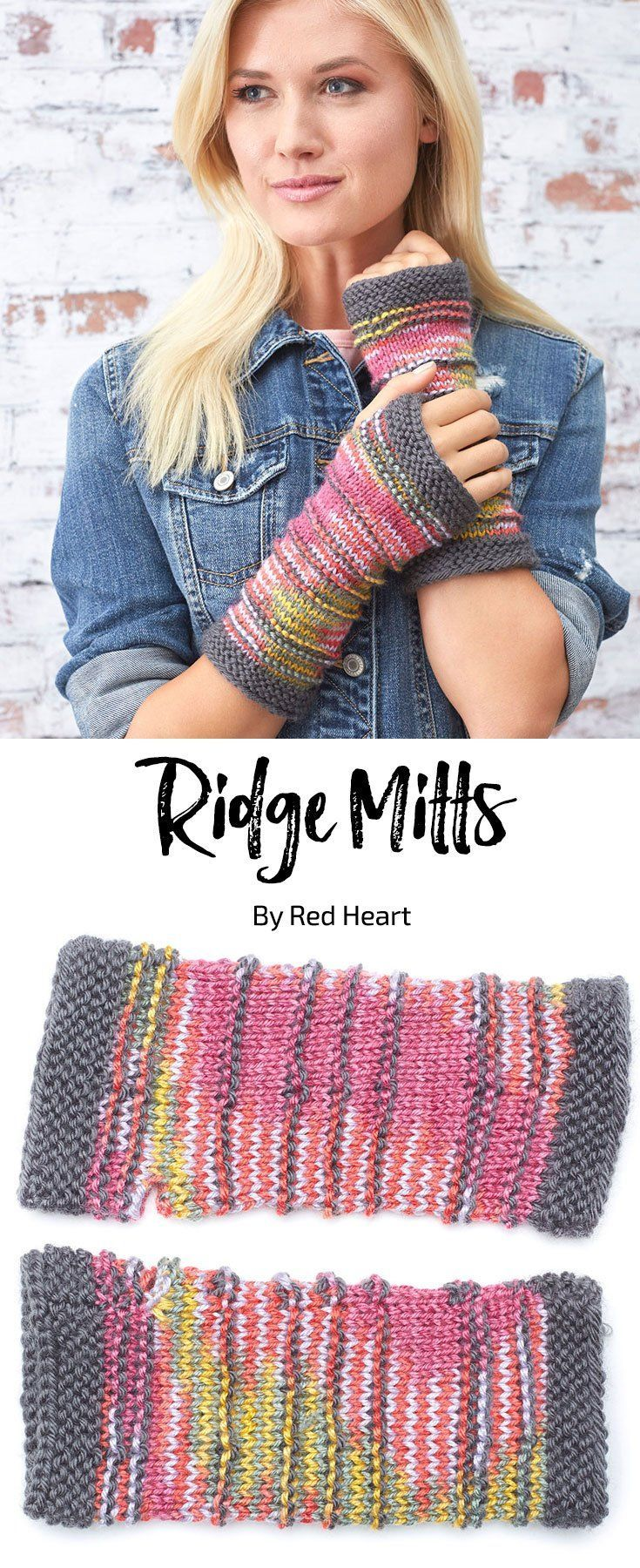 Ridge Mitts free knit pattern in Soft yarn. Knitting mitten pattern.