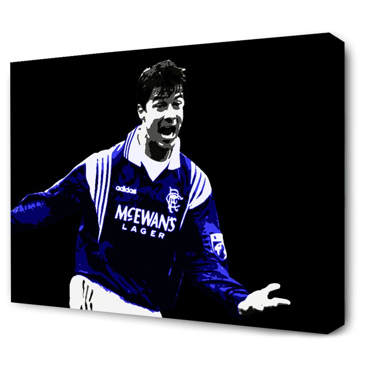 There's only one Brian Laudrup.Image of the Great Dane celebrating his goal to clinch Nine in a row for Rangers against Dundee Untied at Tannadice in 1997.Two Canvas Sizes available:2...