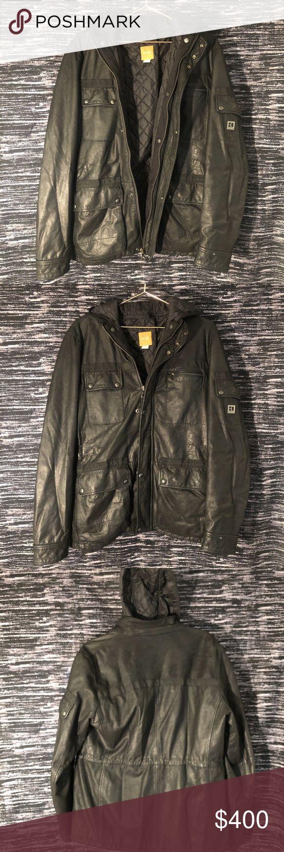 Hugo boss orange label leather jacket mom paid close to