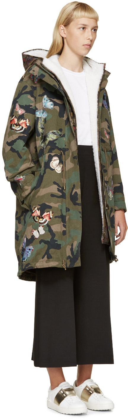 Valentino: Green & Black Butterfly Camouflage Parka | SSENSE