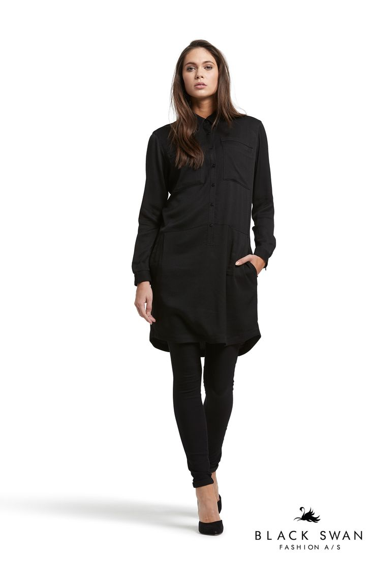 Cool black shirtdress and black Gogo jeans. Black Swan Fshion SS17