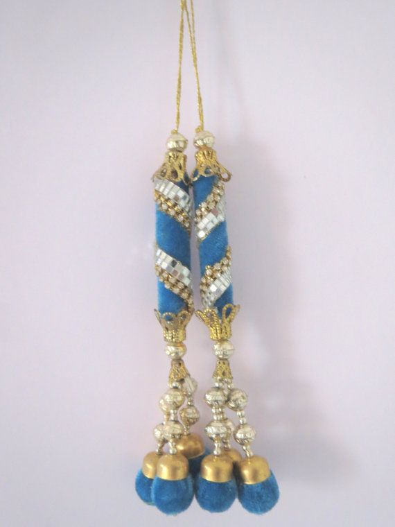 Torquoise BlueGold Sliver Beads Velvet by CraftyJaipur on Etsy