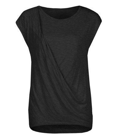 Another great find on #zulily! Black Drape-Front Cap-Sleeve Top by Dex #zulilyfinds