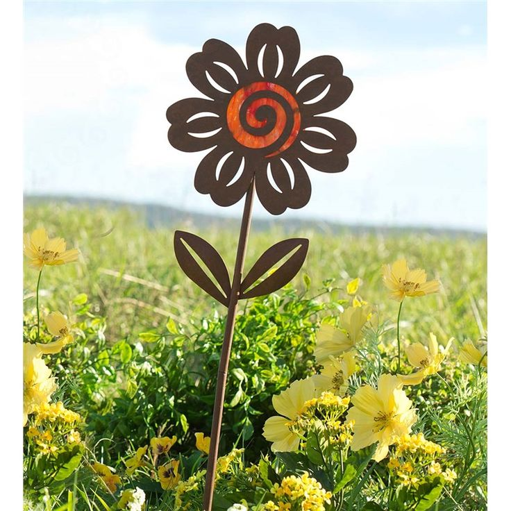 Round Flower Garden Stake, Metal And Glass | Decorative Garden Accents