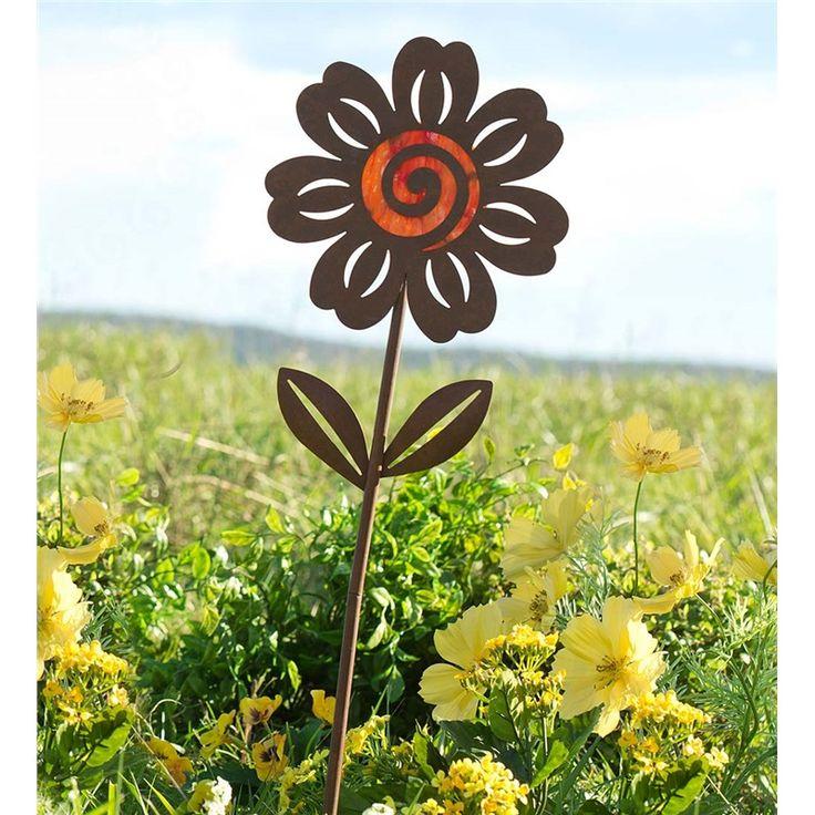 Round Flower Garden Stake, Metal And Glass   Decorative Garden Accents