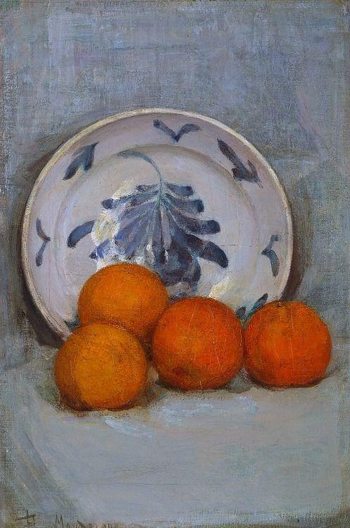 유 Still Life Brushstrokes 유 Nature Morte Painting by Piet Mondrian | Still Life with Oranges, 1899