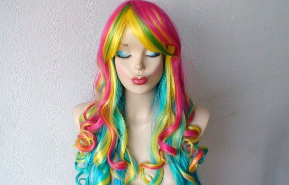 rainbow color wig long curly hairr wig heat by kekeshop on etsy 10750 wigs and other hair things pinterest colors etsy and long curly - Colored Wig