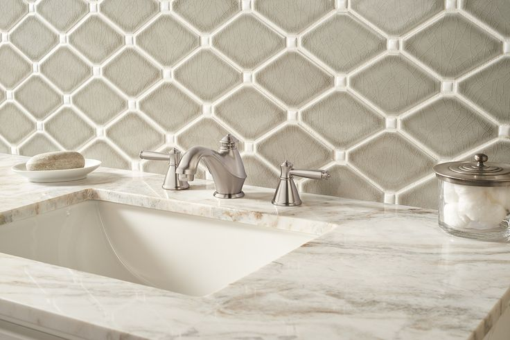 Dove Gray Diamond 8mm White Subway Tile Bathroom