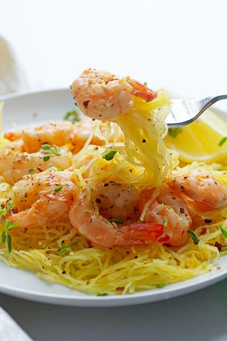 Light Shrimp Scampi with Spaghetti Squash   Grandbaby Cakes