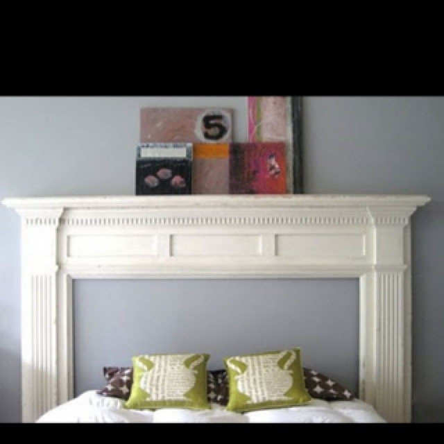 We purchased an old fireplace mantle today in Canton to do this as a new headboard. Can't wait to refinish it!