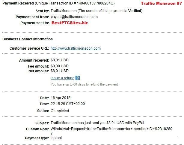 Traffic Monsoon Payment No7 http://bestptcsites.biz/