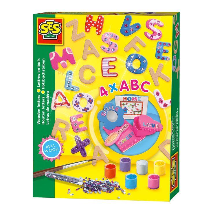 Geef de houten letters van het alfabet mooie kleuren en siersteentjes. Ontwerp naar eigen smaak! Inclusief verf, penseel en 4x het alfabet. Afmeting:verpakking 20 x 15 x 4 cm. Afmeting: verpakking 20 x 15 x 4 cm - SES Houten Letters