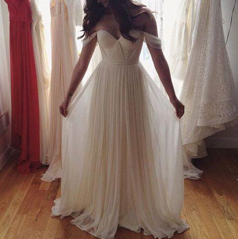 Charming White A-line Chiffon Long Prom Dress,Wedding Dress, Off the Shoulder Wedding Dress, Beach Wedding Dress, White Wedding Dress, Long Dress, Bridal Dresses