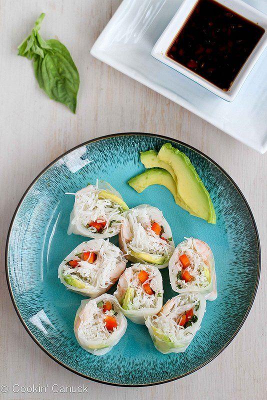 Shrimp, Avocado, and Rice Noodle Spring Rolls