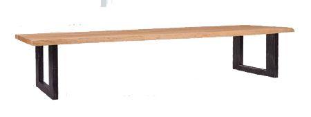 Eetkamerbank. Back to Basic. Robuste combinatie van hout en metaal.