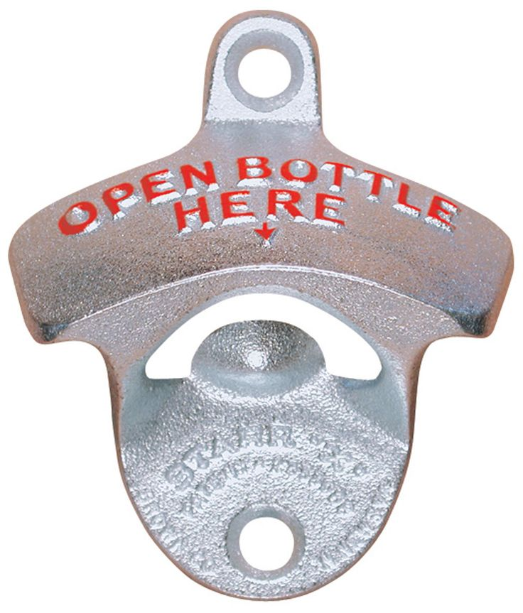 Star X Bottle Opener. This is a great gadget to attach outside near the BBQ!  Cast Iron, Zinc Plated opener with 2 mounting holes to attach to the wall.