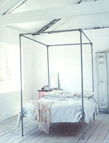 I love this idea! I\'ve always wanted a four poster bed frame! I bed ...