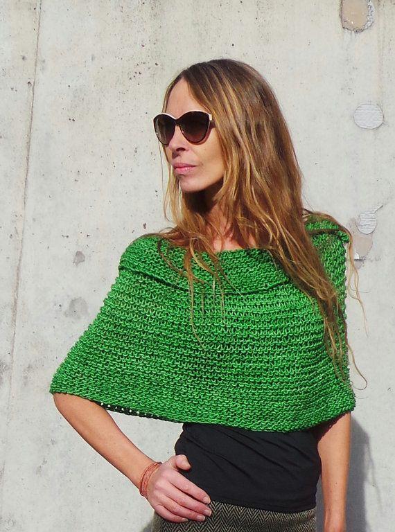 poncho verde de las mujeres / cabo / mano lana knit / peruana