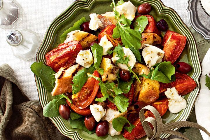 Chargrilled bread and tomato salad with olives