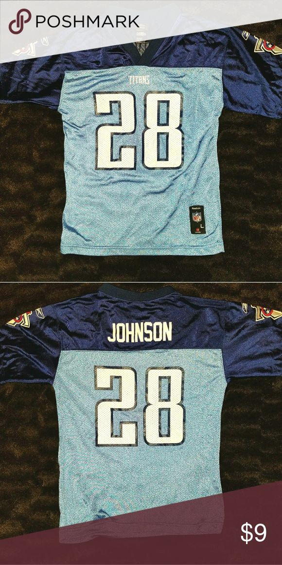 TENNESSEE TITANS #28 Chris Johnson Football Jersey This is a youth large (size 14-16) football jersey #28 Chris Johnson for the Tennessee Titans by Reebok. The chest measures 18 inches and the length is 25 inches. Reebok Shirts & Tops