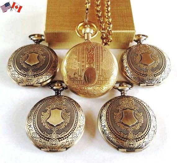 Gold Pocket Watch Set Groomsmen Gift Mixed Set Wedding Pocket