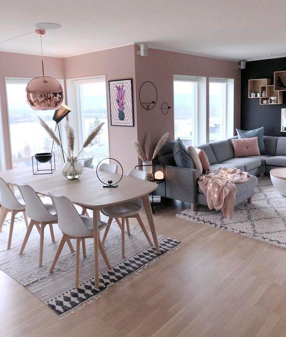 Casas Pequenas: +80 Fotos de Fora e de Dentro para Inspirar 2020 Blush Pink Living Room, Living Room Grey, Living Room Decor, Decor Room, Pink And Grey Room, Living Rooms, Pink Room, Design Room, Room Interior Design