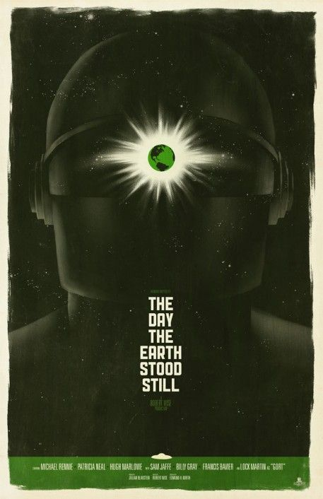 "Artwork by Toronto-based design firm Phantom City Creative, inspired by Robert Wise's science fiction film ""The Day the Earth Stood Still"""