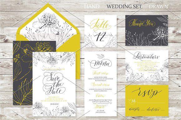Wedding set. Calligrafy, graphics. by OlgaAlekseenko on @creativemarket