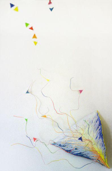 Lucifer. 1982 Hélène Mugot  LES SAINTS ET LES ANGES  Les Anges : Peinture vinylique fluorescente sur papier Braye (face et revers) + fils téléphoniques. / Les saints : Peinture vinylique fluorescente sur papier Braye (face et revers) + dessin en pointillé / mine de plomb sur le mur.  DIMENSIONS: Les Anges : 7 x (15x15x15 cm) / Les Saints : 120 x 20 cm.  http://www.helene.mugot.com/portfolio/les-saints-et-les-anges/