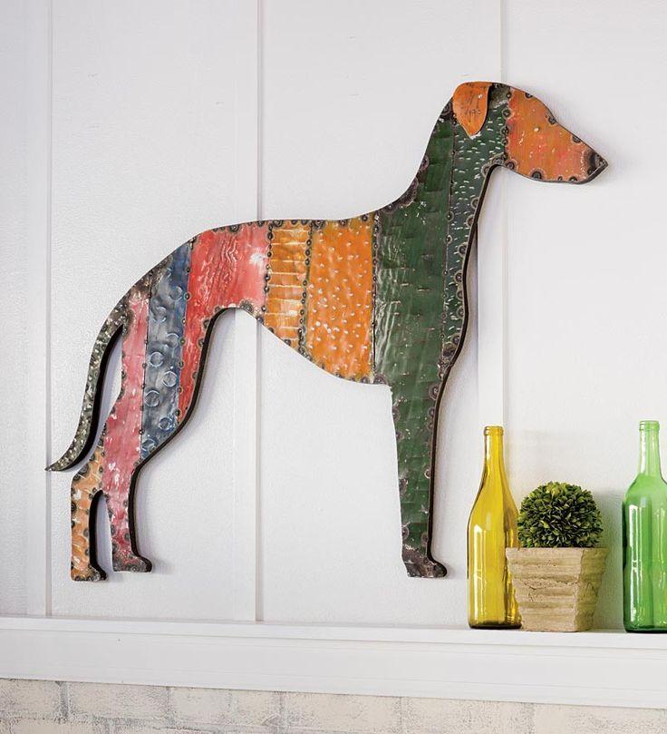 Recycled Metal Greyhound Wall Hanging Outdoor Dog Bed Greyhound Dog Decor