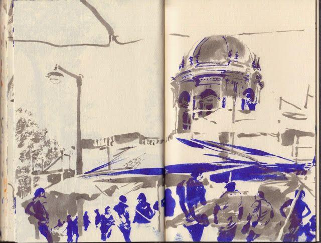 Urban Sketchers Portugal: É 3ªFeira, feira da ladra uma montra de nós própri...