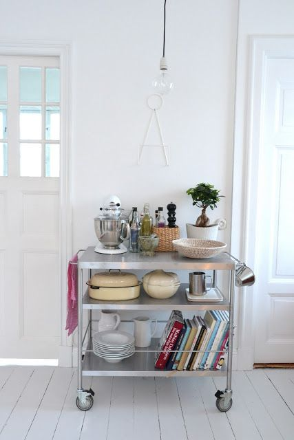 If you have the space, a kitchen cart can serve multiple purposes. | 27 Lifehacks For Your Tiny Kitchen