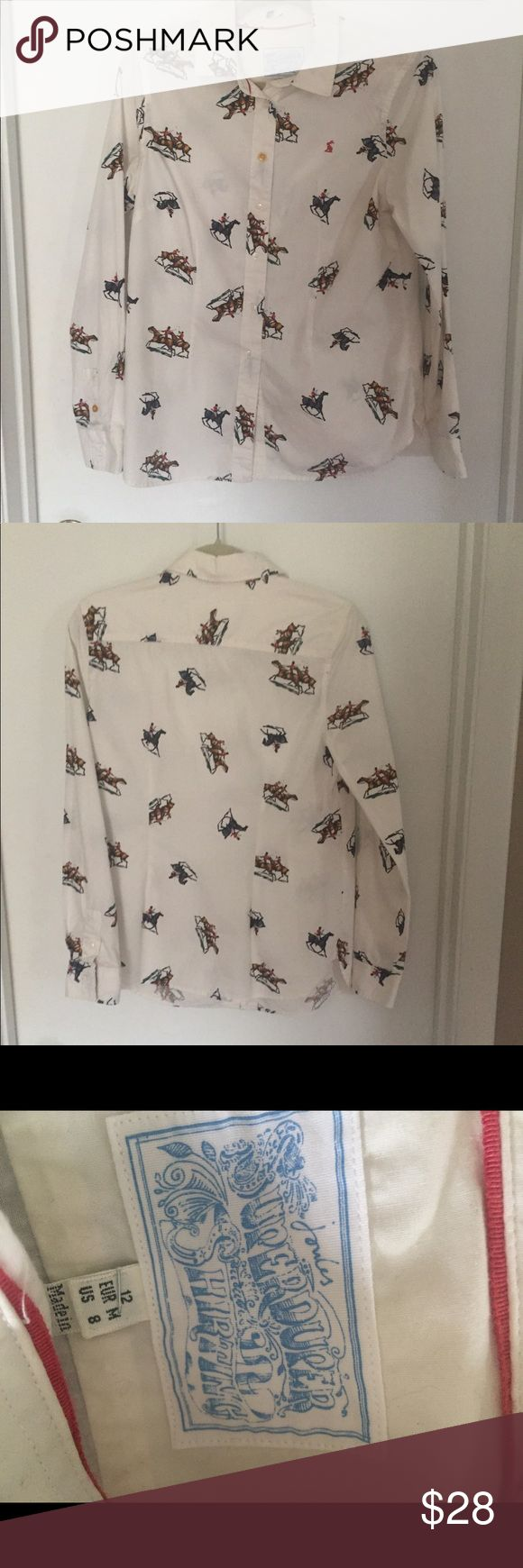 Joules Superduper Shirting Button Front Shirt JOULES SuperDuper Shirting Woman's Shirt Horse print. Good Condition Joules Tops Button Down Shirts