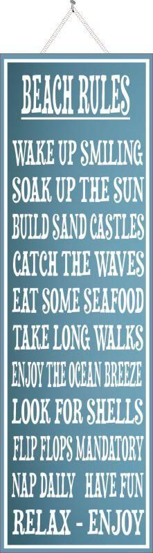 Light Blue Beach Rules Sign with White Border and Matching Font #InteriorDesignBoards