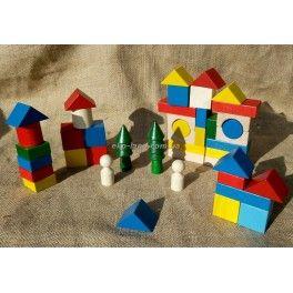 Деревянный конструктор из деревянных кубиков, блоков. Деревянная елочка - игрушка, деревянные человечки, цветные кубики eko-Land.com.ua