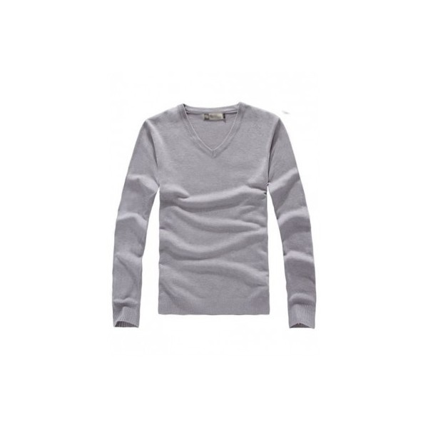 Light Grey Slim-Fitting V-Neck Long Sleeves Cotton Men Shirt... via Polyvore