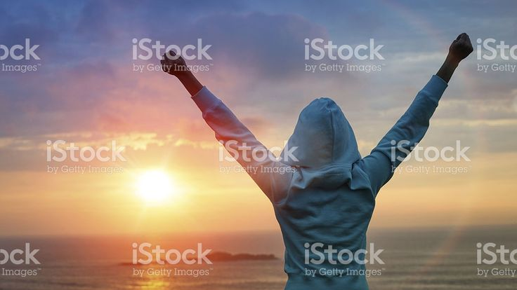 Sport success on sunset background royalty-free stock photo