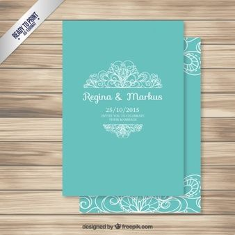ターコイズ色の装飾の結婚式のカード