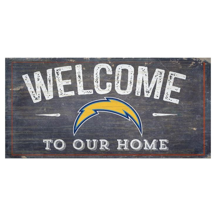 "NFL Los Angeles Chargers 6"" x 12"" Welcome Distressed Sign"