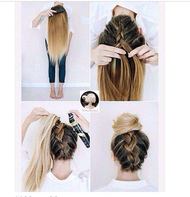 Surpreenda o coque de sempre com uma trança invertida. | 22 penteados simples para quando você não sabe o que fazer com seu cabelo