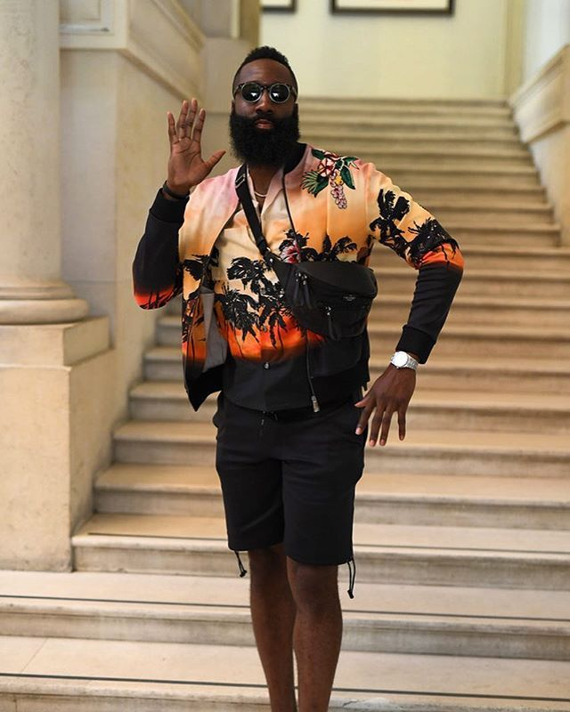 2abaa003ab9c ...  NBA star  JamesHarden attended the  Valentino mens Spring Summer 2019   Paris Fashion Week show wearing a  Valentino jacket shirt shorts and  sneakers.